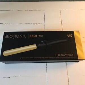 "Bio Ionic GoldPro 1"" Curling Wand New in Box NWT"